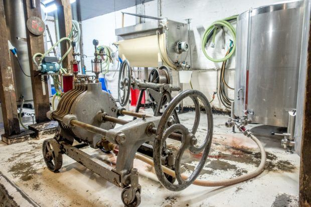 Brewing and bottling equipment at Cantillon Brewery