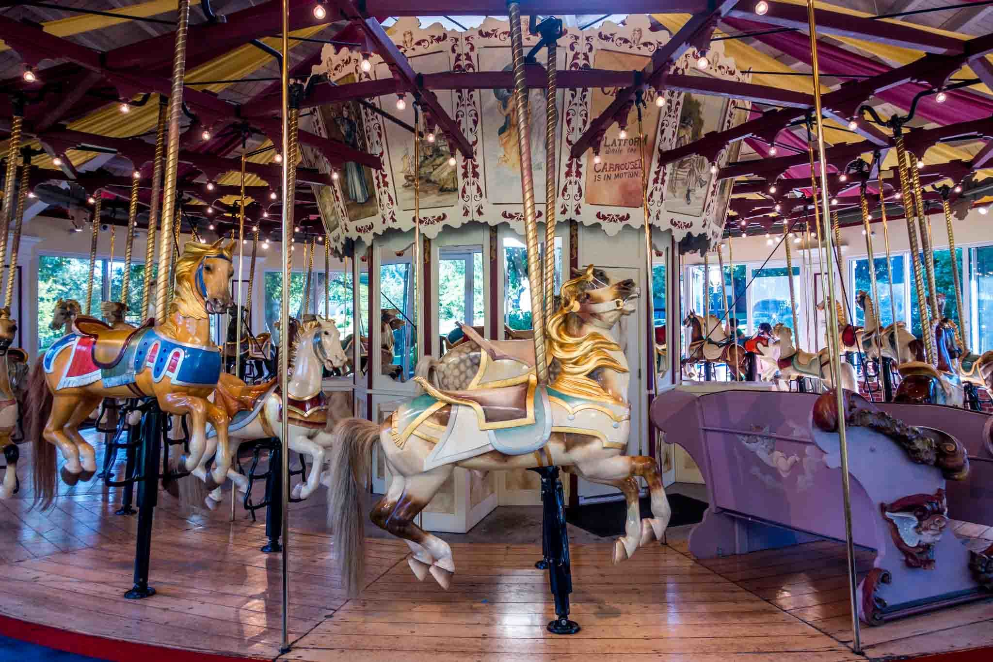 Colorful carousel at Congress Park in Saratoga Springs New York