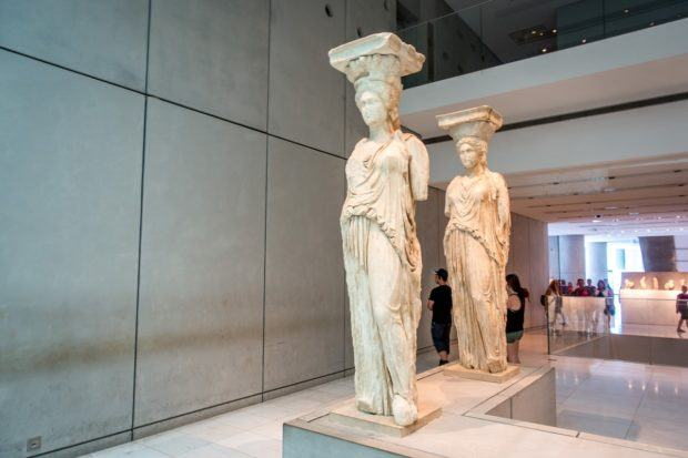 The restored Caryatids in the Acropolis Museum in Athens