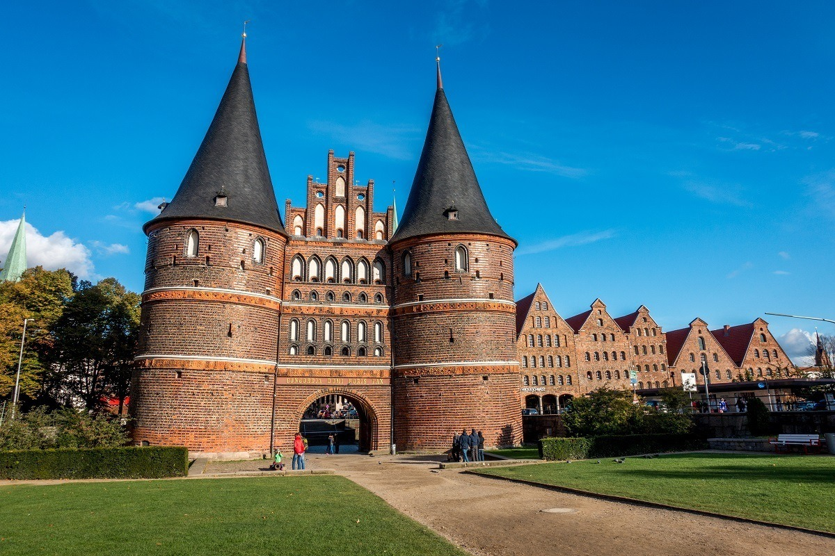 Large city gate with turrets, Holsten Gate in Lubeck Germany