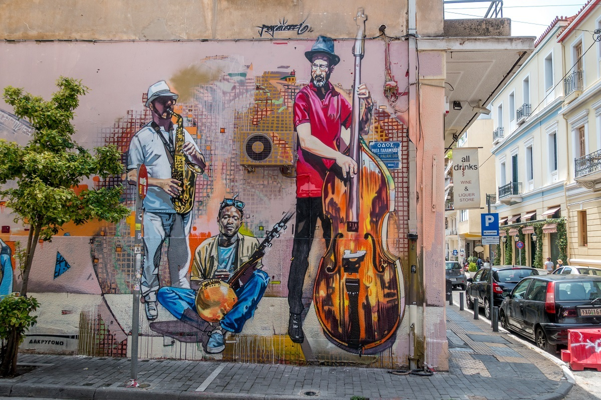 Walking through the Psyrri neighborhood in Athens, Greece, provides great opportunities to see street art