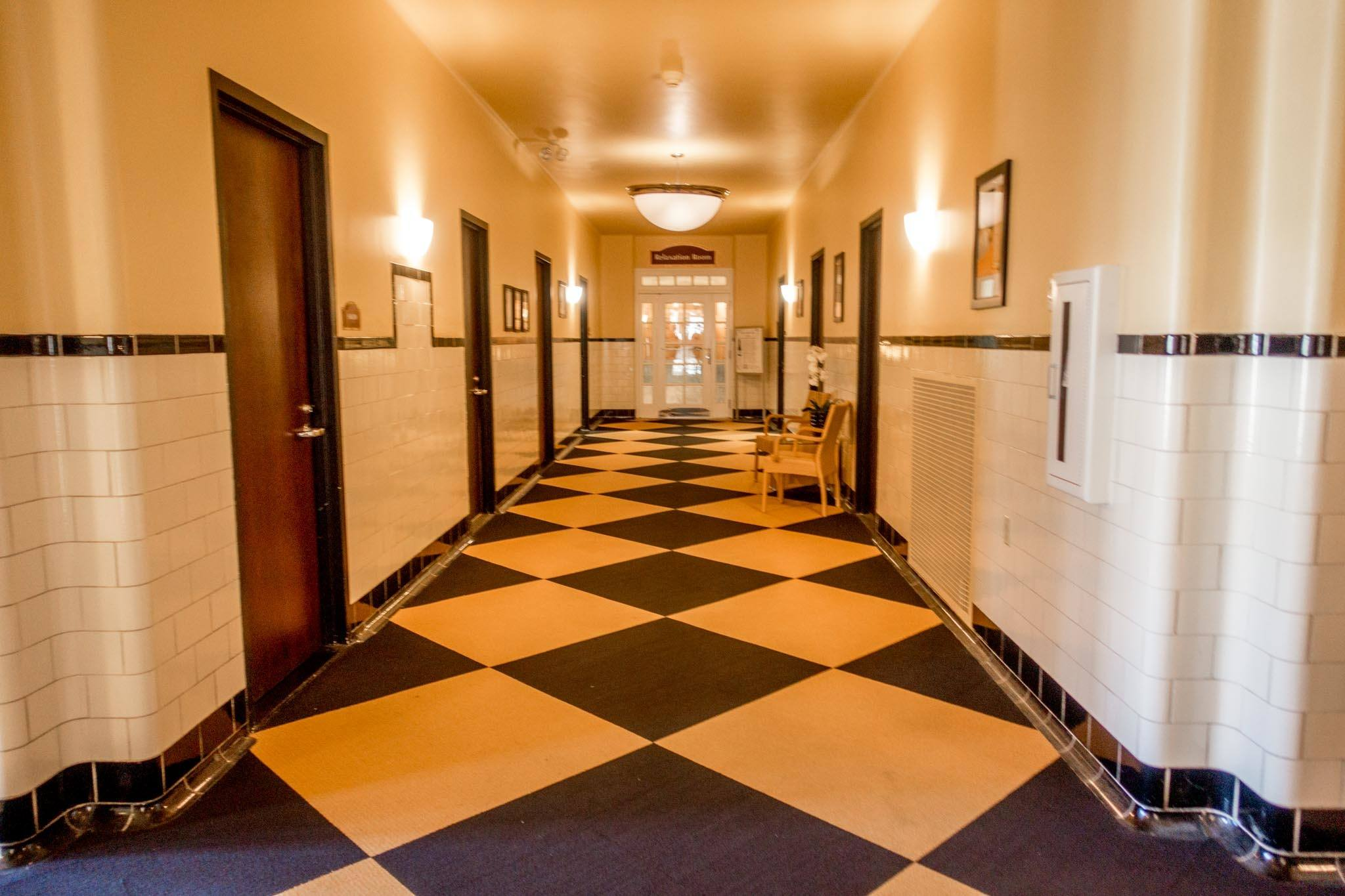 Tiled hallway at Roosevelt Baths & Spa