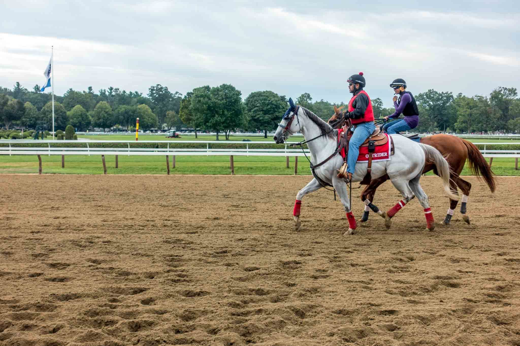Horses and jockeys warming up at Saratoga Springs racetrack