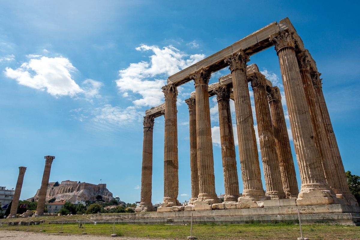 The Temple of Olympian Zeus in Athens was designed to be the largest temple in the world
