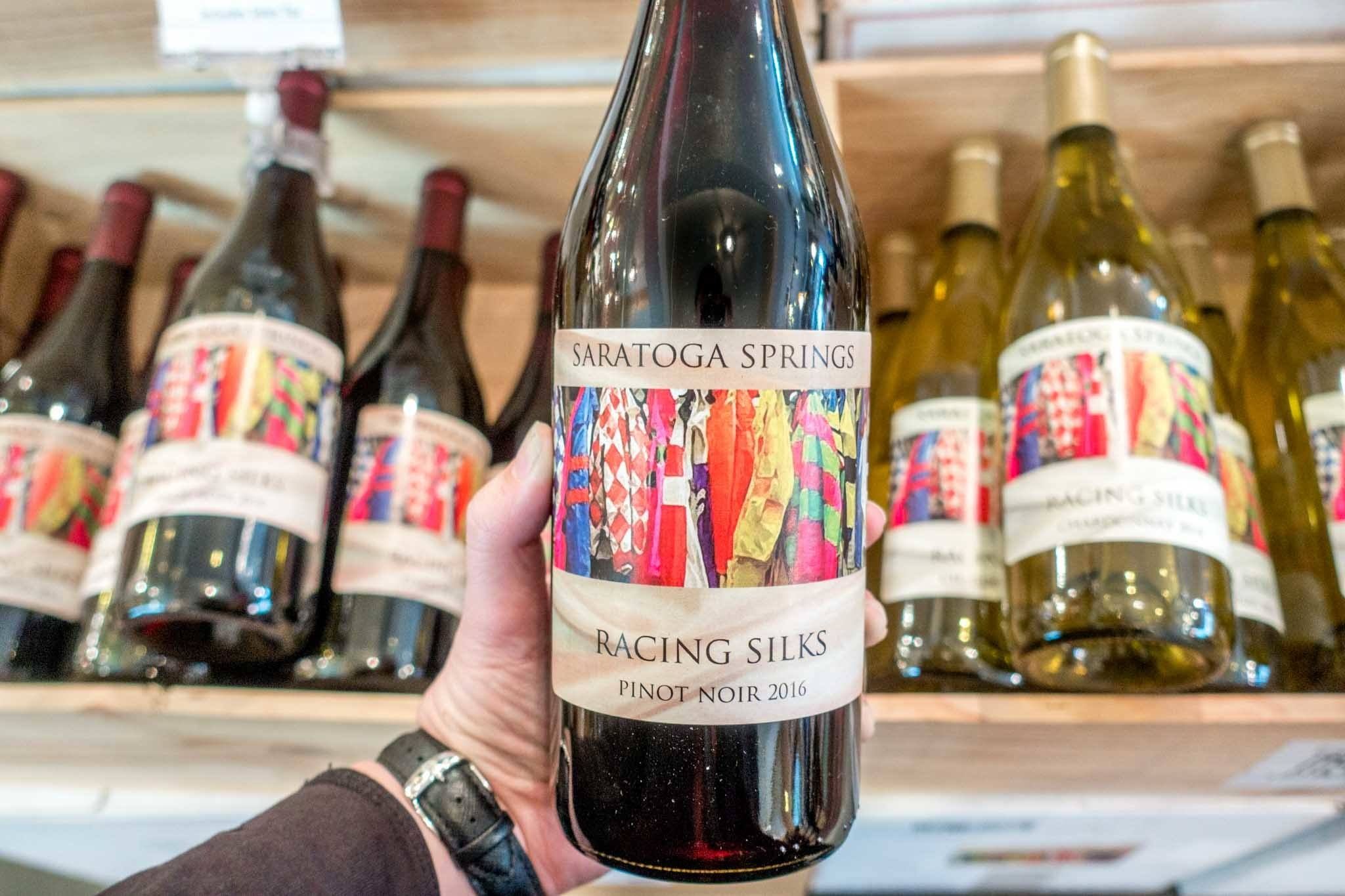 Bottle of Saratoga Springs Racing Silks wine