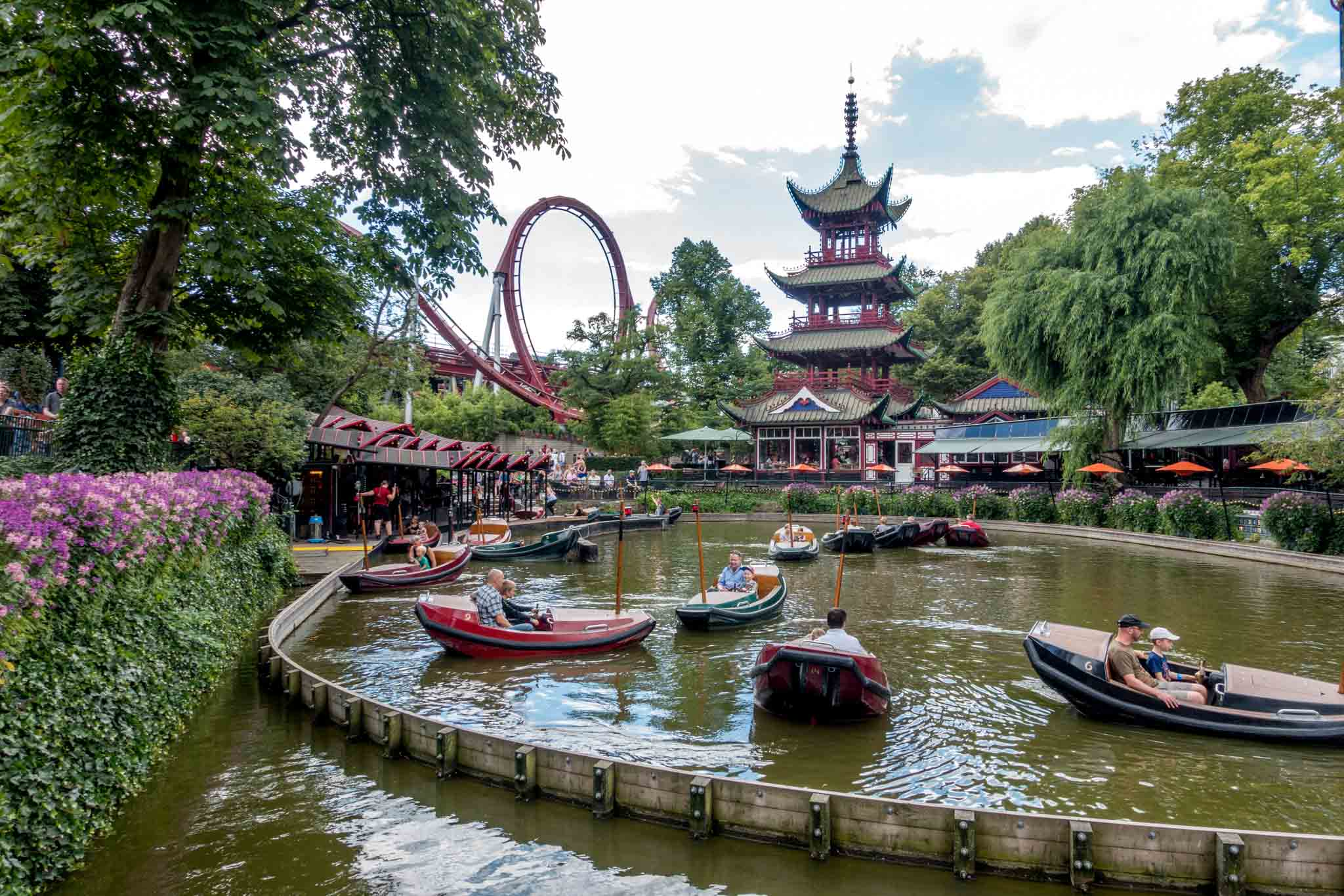 Boat ride at Tivoli Gardens, the Copenhagen amusement park