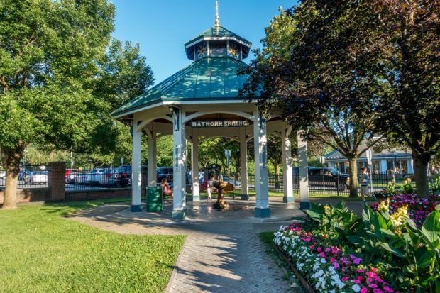 Hathorn Spring in Congress Park in Saratoga Springs, New York