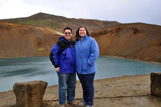 Laura and Lance at the top of the Krafla volcano caldera in Iceland.