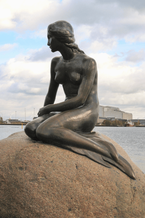 Statue of a mermaid  on a rock
