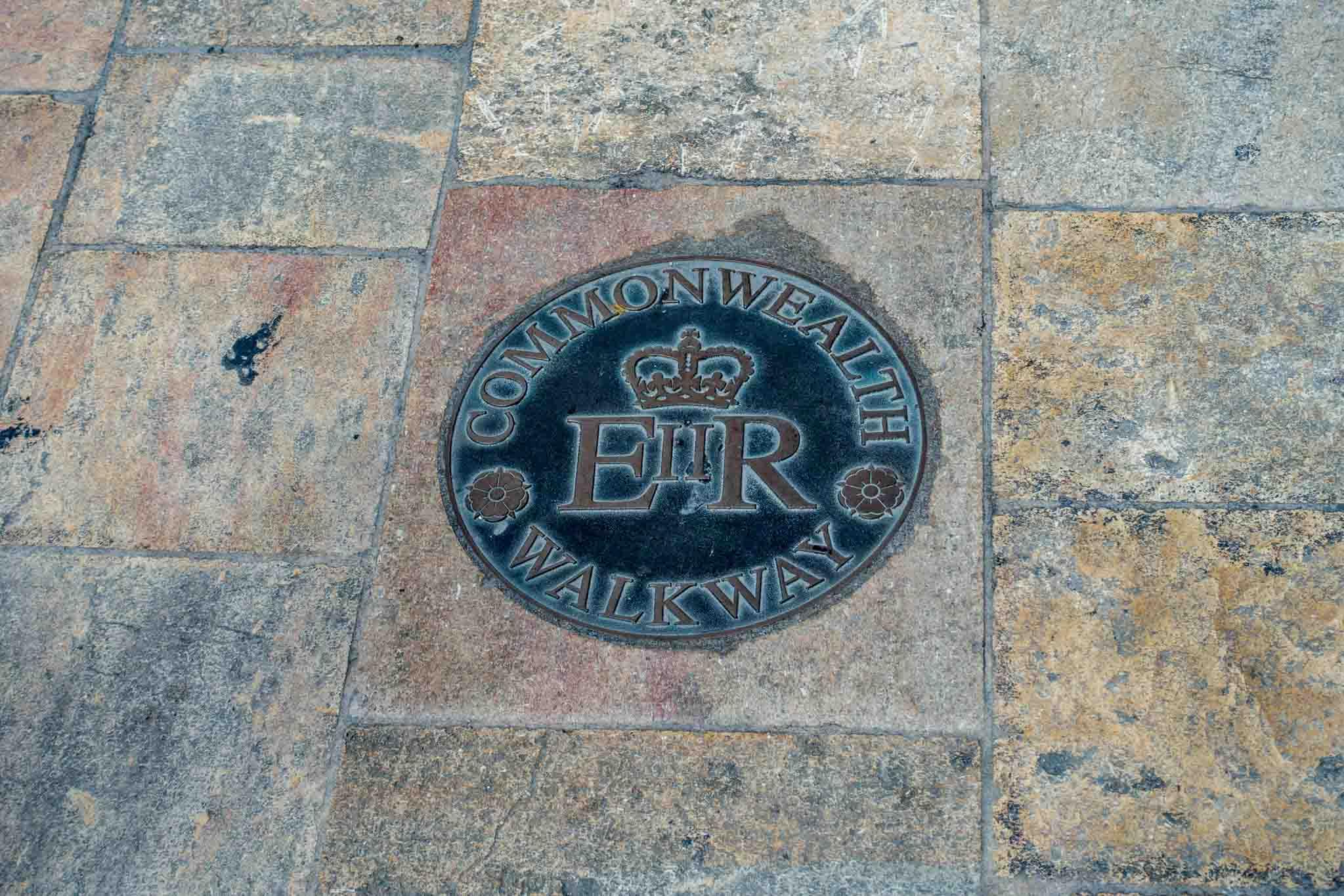 Queen Elizabeth II walkway medallion in Valletta, Malta