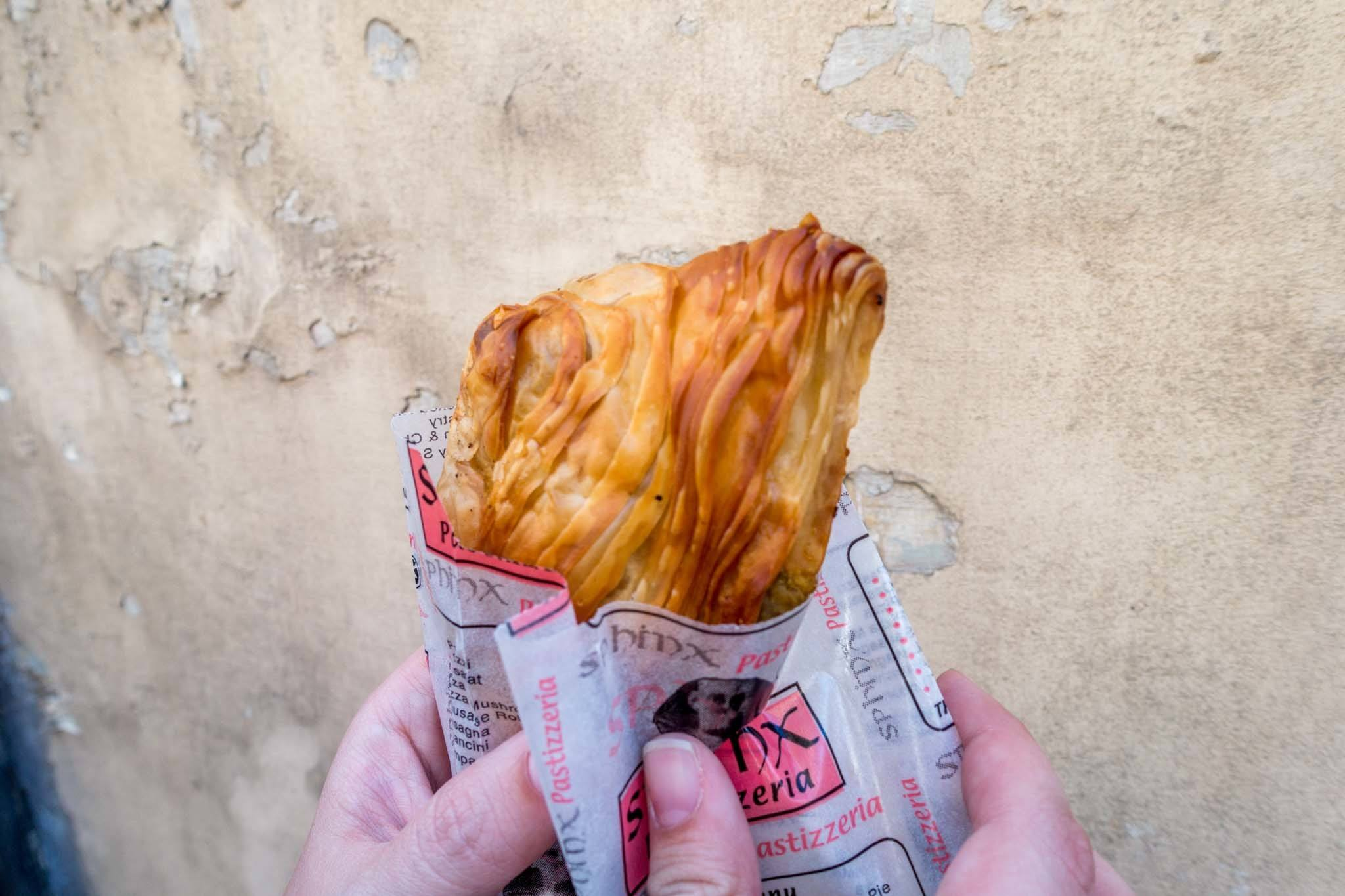 Pastizzi, a diamond-shaped pastry filled with peas in Malta