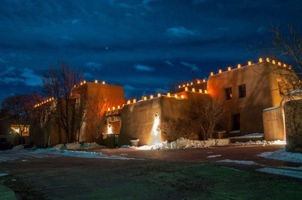 The farolito lanterns on adobe buildings along Santa Fe's Canyon Road.