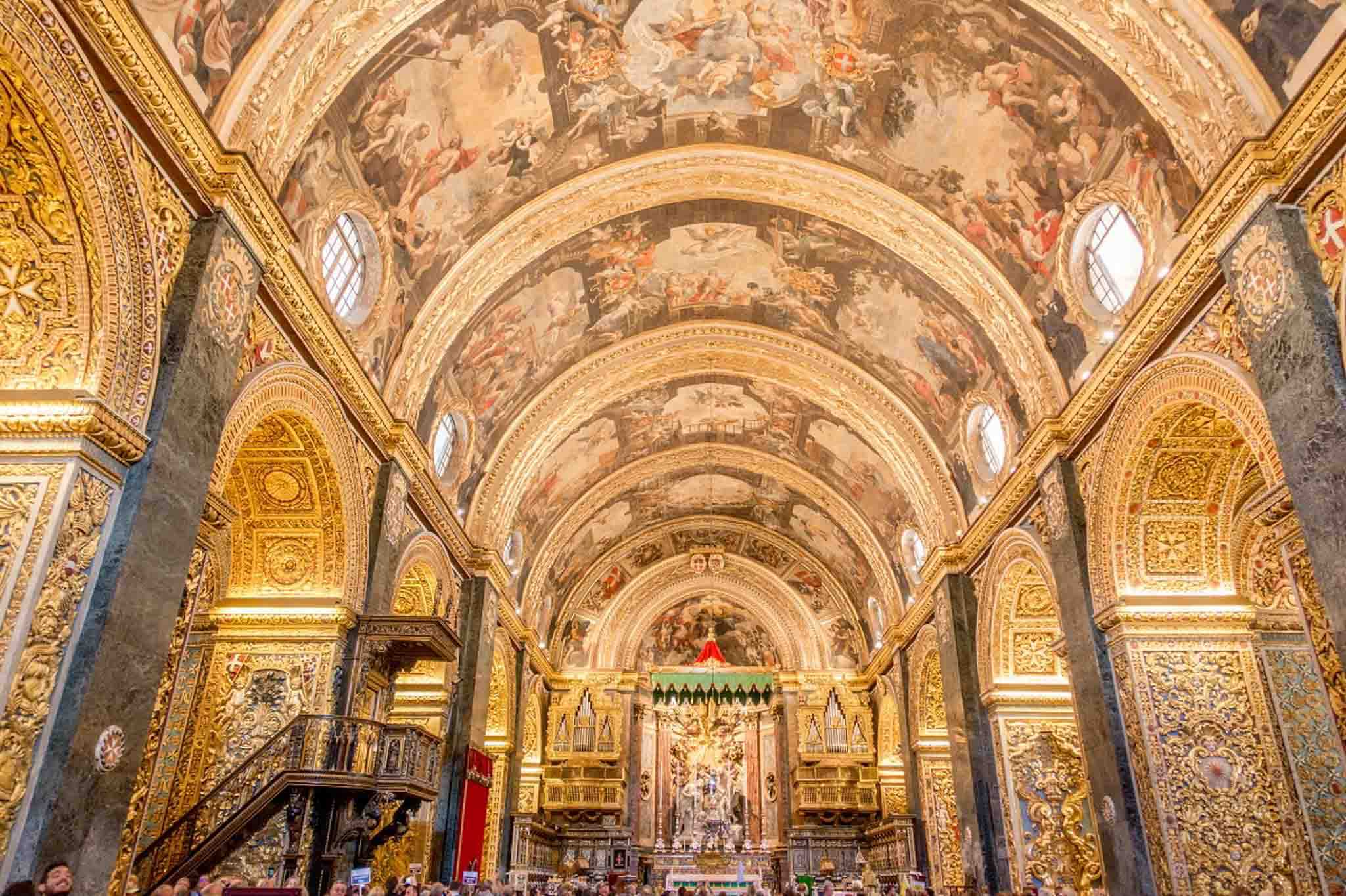 The nave of St. John's Co-Cathedral in Valletta, Malta
