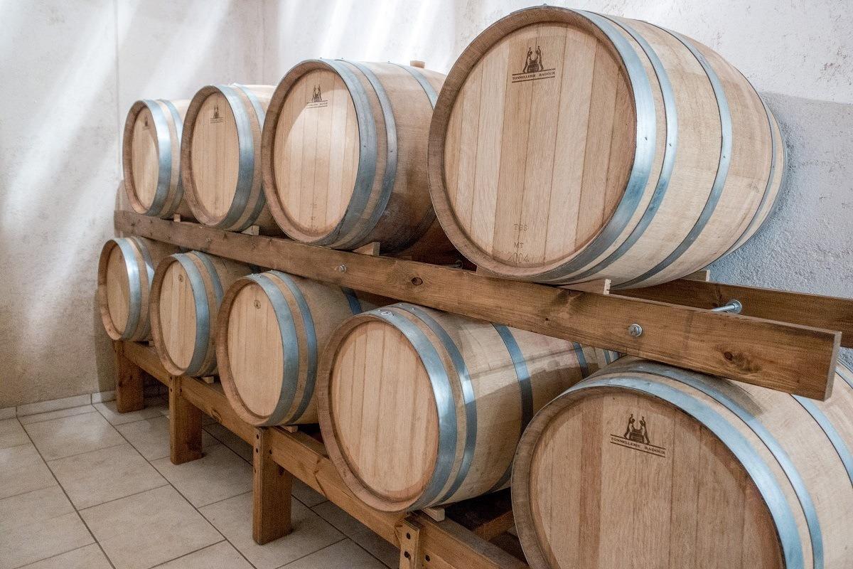 Barrel aging at Stilianou winery in Crete