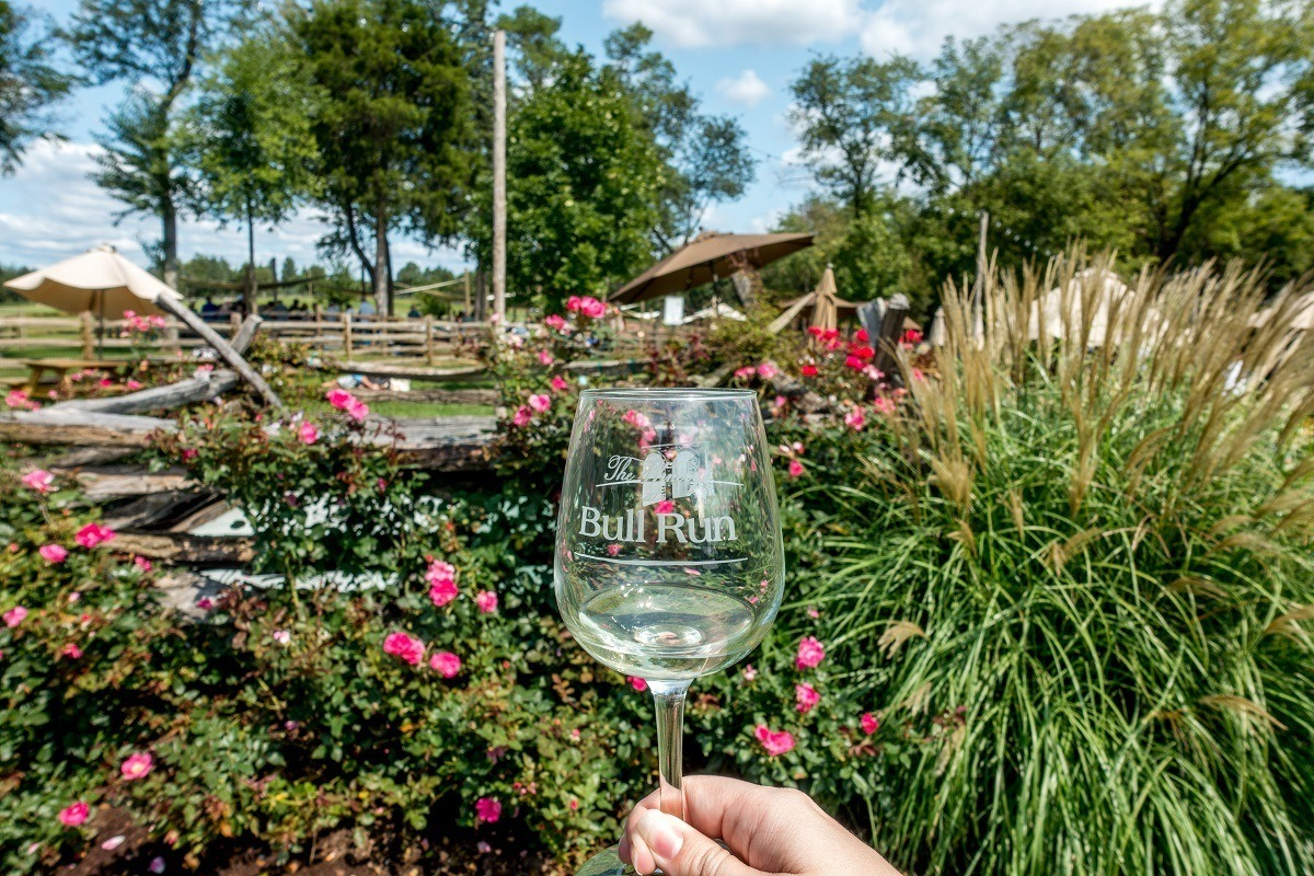 Wine glass at Winery at Bull Run, one of the northern Virginia wineries