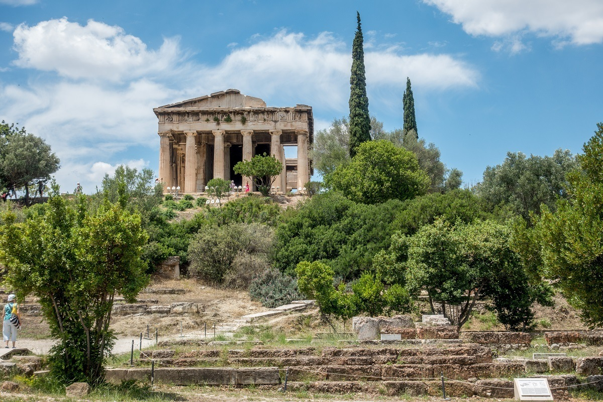 Remains of an ancient temple in Athens, Greece