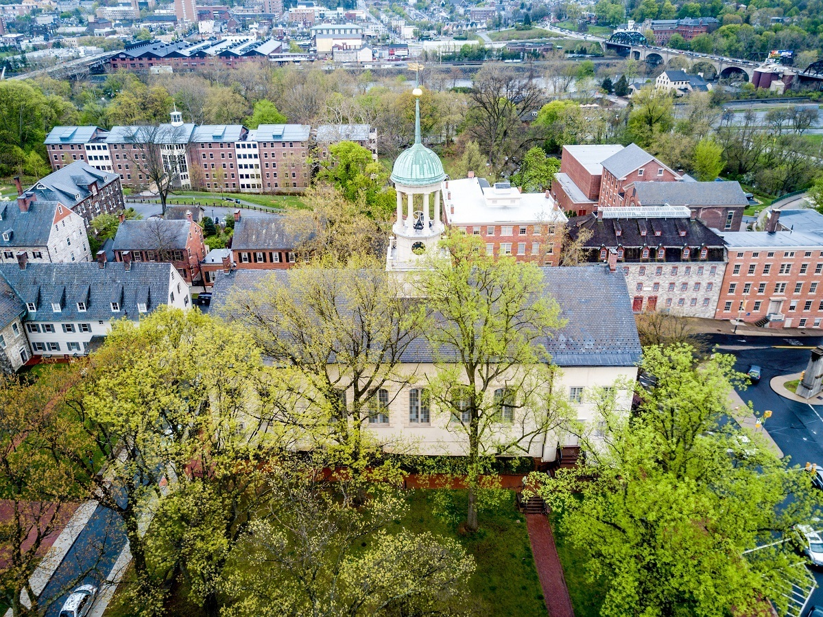 The Moravian sites of Bethlehem, Pennsylvania, from above