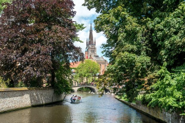 Cruising down one of the canals in Bruges, Belgium