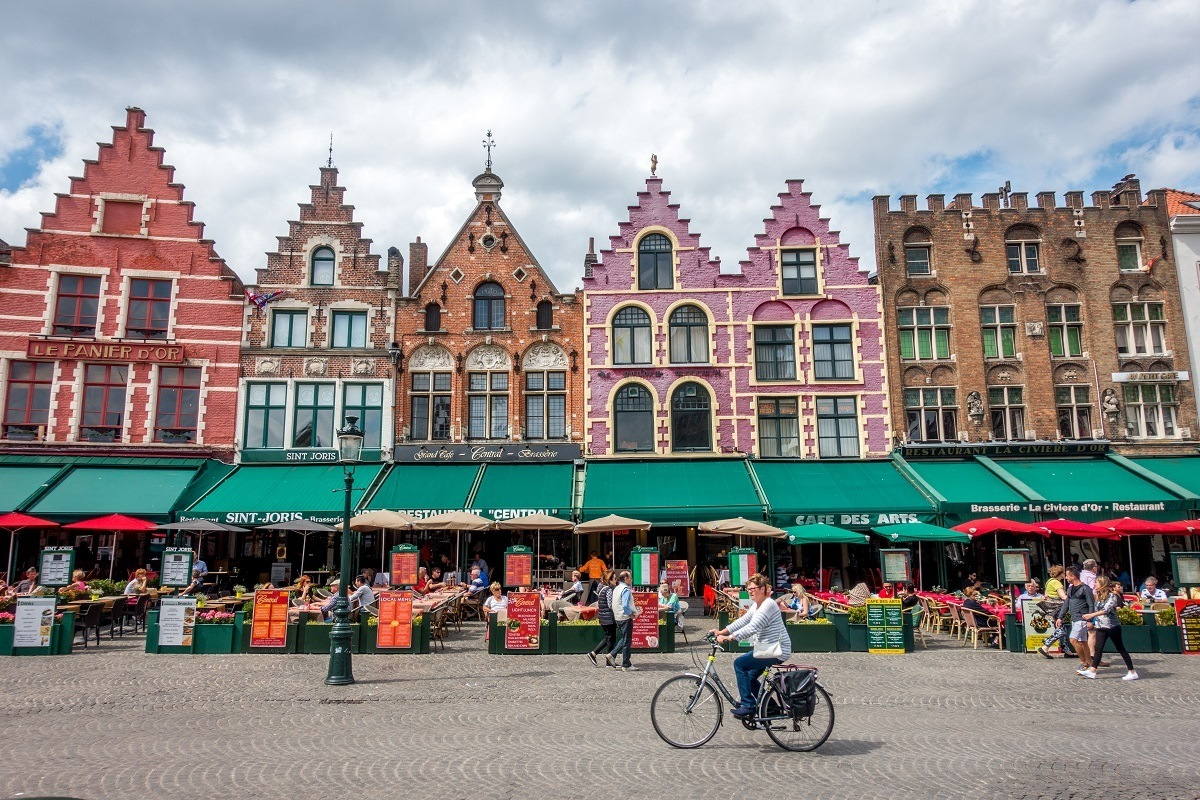 Canal houses that are now restaurants in Bruges, Belgium