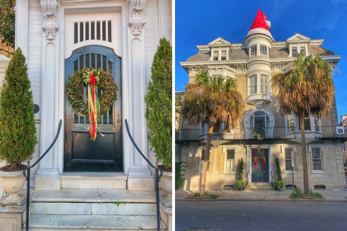 Homes decorated for Christmas in Charleston, South Carolina