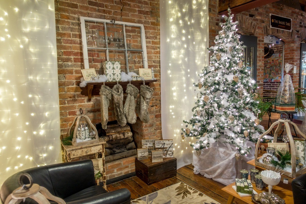 Christmas decor and gifts in a shop