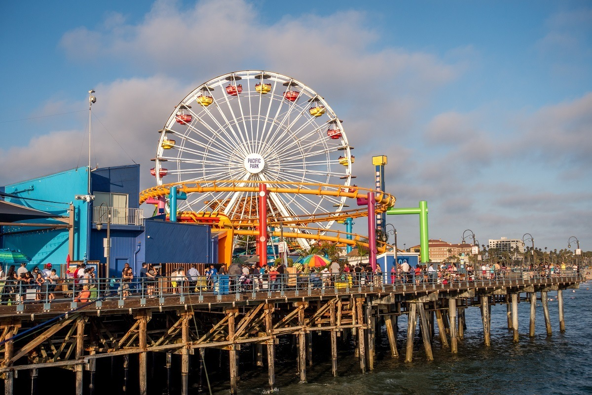 Ferris wheel near a pier