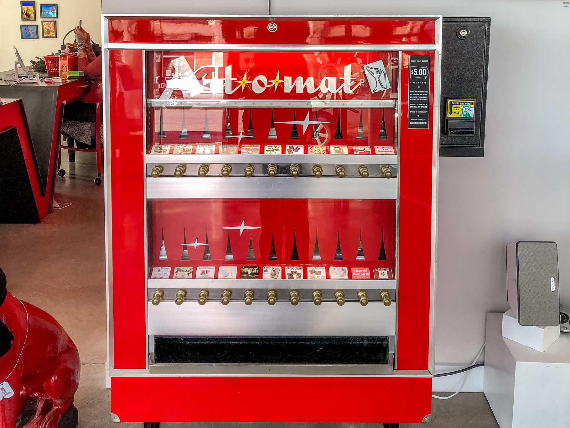 Art-o-Mat, an old-fashioned cigarette machine that dispenses art