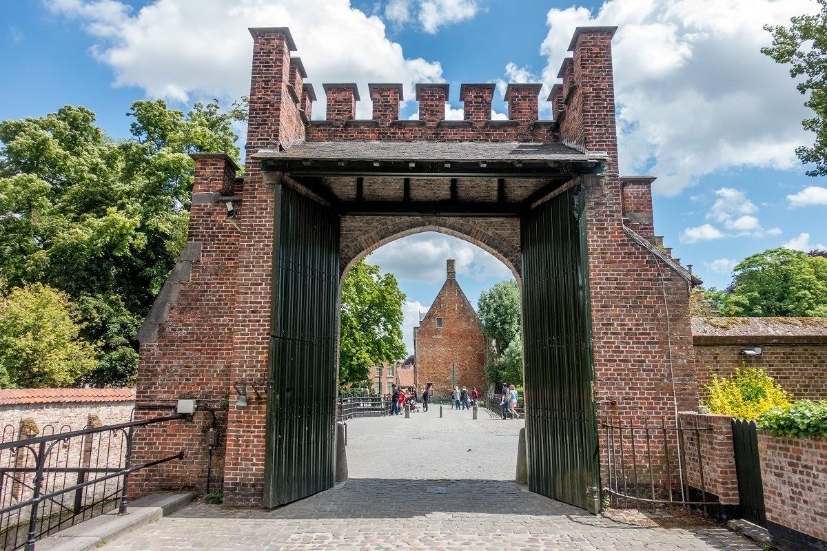 The gate to the historic Beguinage, one of the Bruges Belgium points of interest