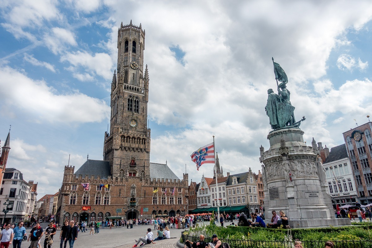 Market Square and belltower in Bruges Belgium