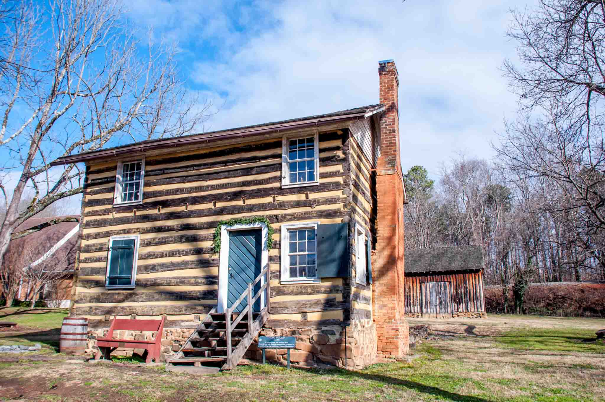 Log house with fur windows at the Bethabara Historic District