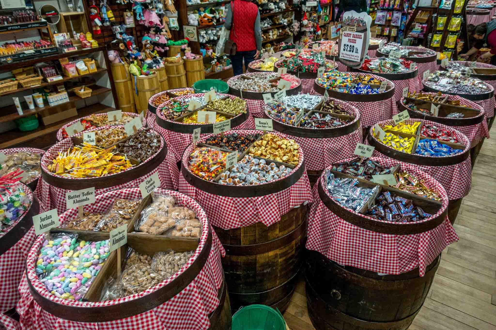 Barrels of bulk candy for sale at Mast General Store in Winston Salem