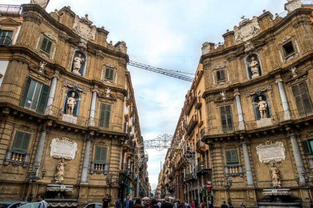 Quattro Canti is one of the more unusual points of interest in Palermo, Sicily