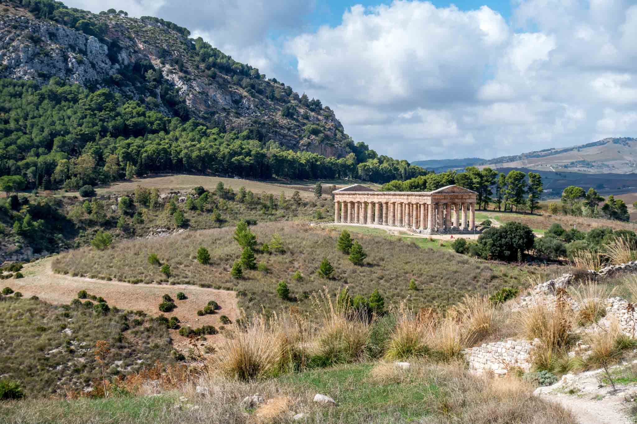 Temple of Segesta, a columned temple in a valley