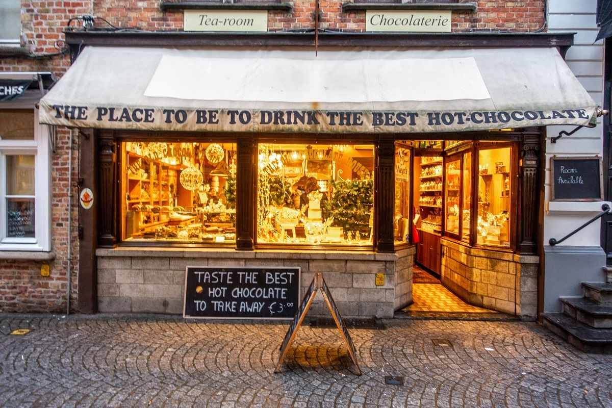 Visiting the Old Chocolate House is a fun part of any Bruges itinerary