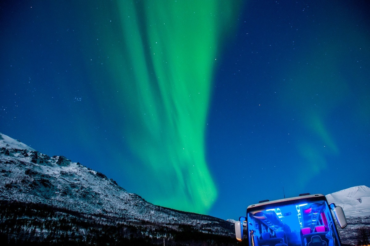The aurora borealis visible above a Northern Lights Tour bus.