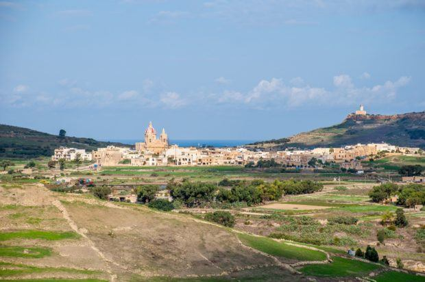 The view of the Gozo countryside as seen from the bastions of the Citadel in Victoria/Rabat