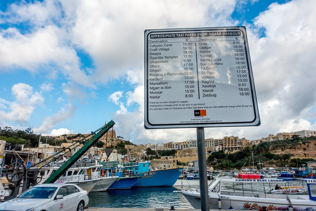 Taxi rates for getting around Gozo