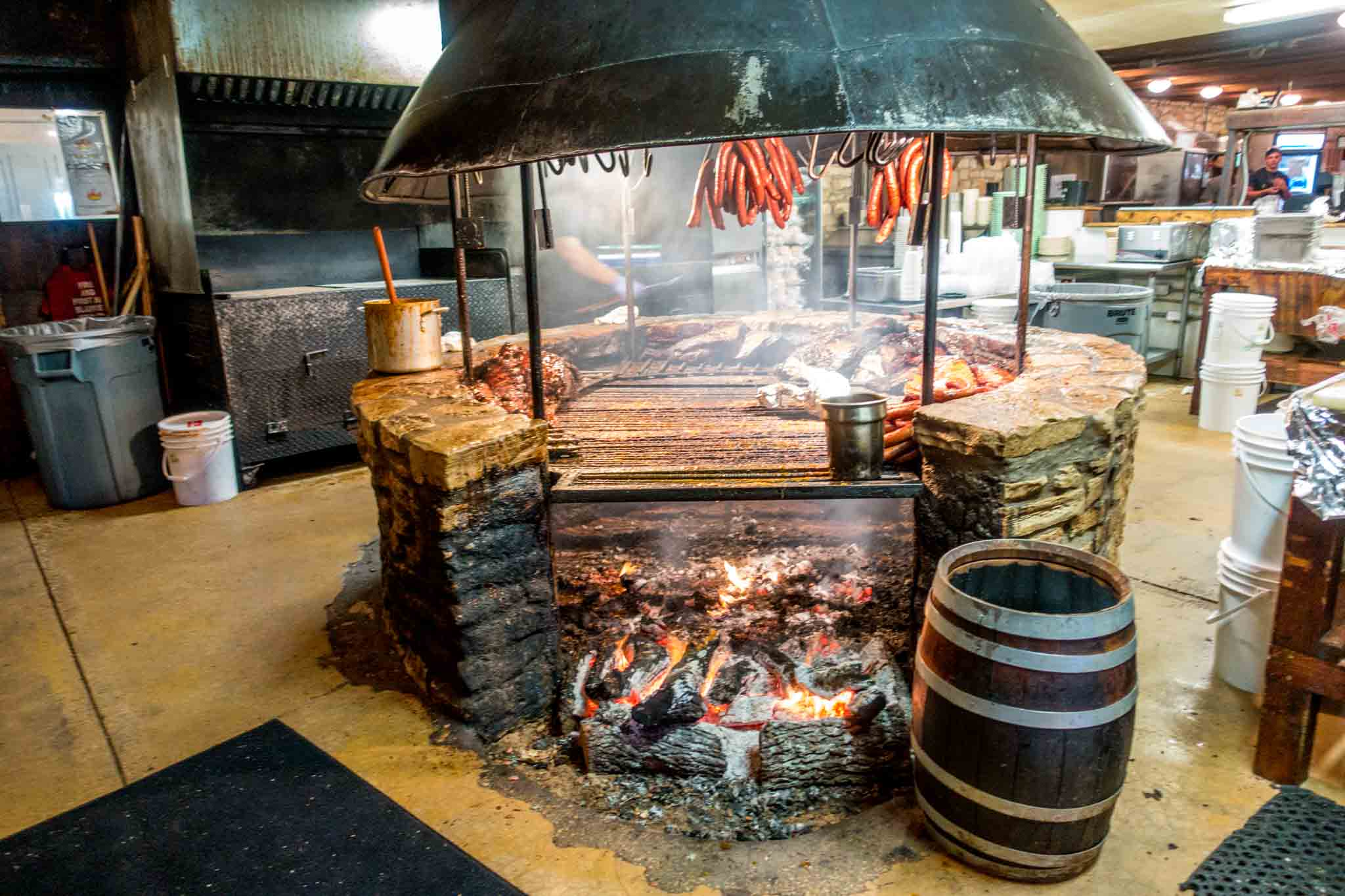 Meat cooking on the BBQ at The Salt Lick