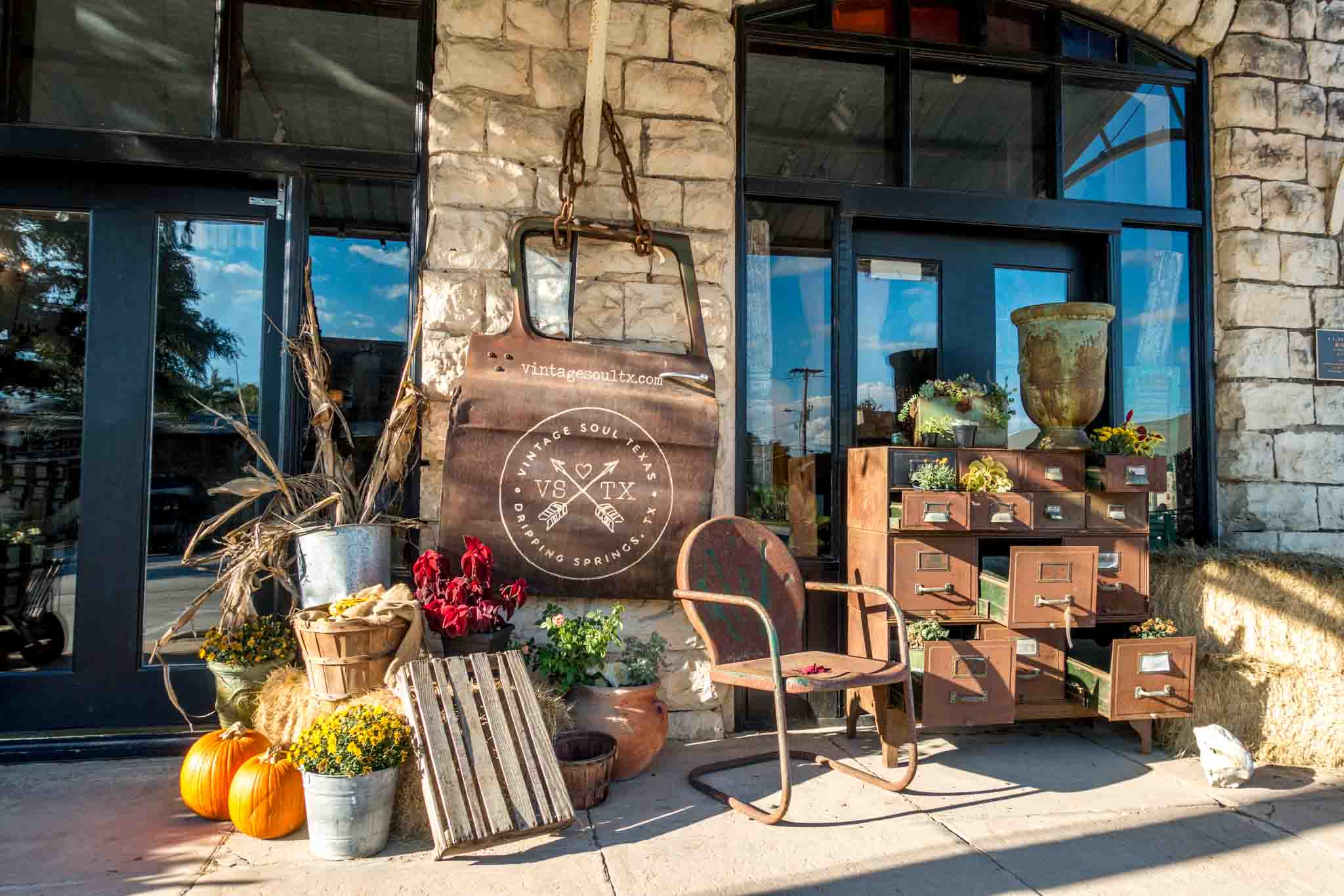 Merchandise outside boutique in downtown Dripping Springs