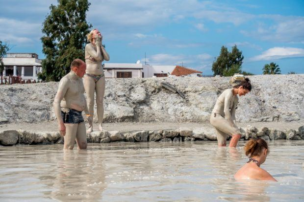 Using he Vulcano mud baths showers are absolutely necessary because the fine silt mud gets everywhere - including in your bathing suit!