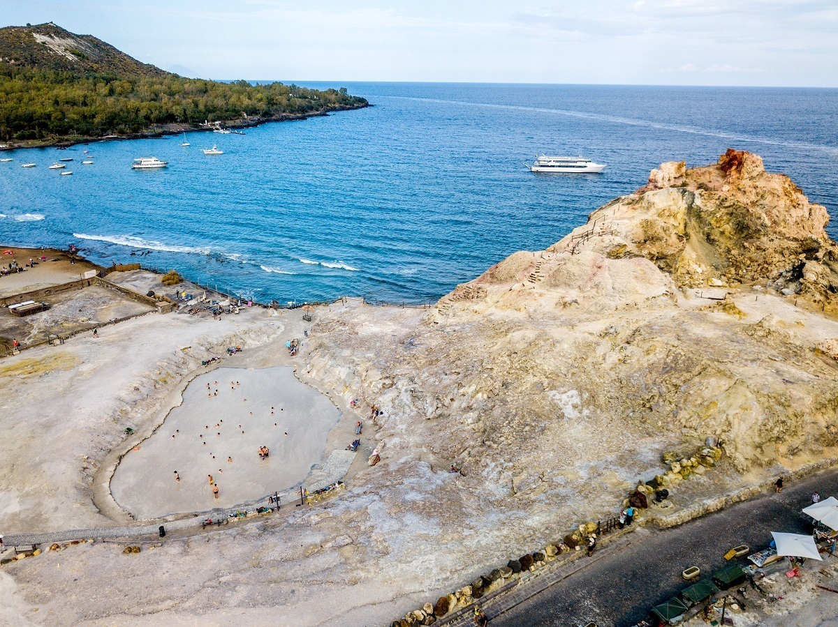 Aerial drone photo of the Vulcano mud baths and harbor.