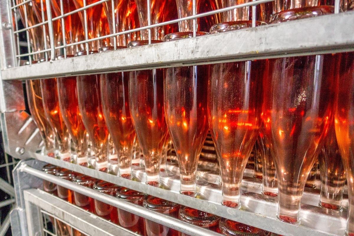 Rose wine in bottles