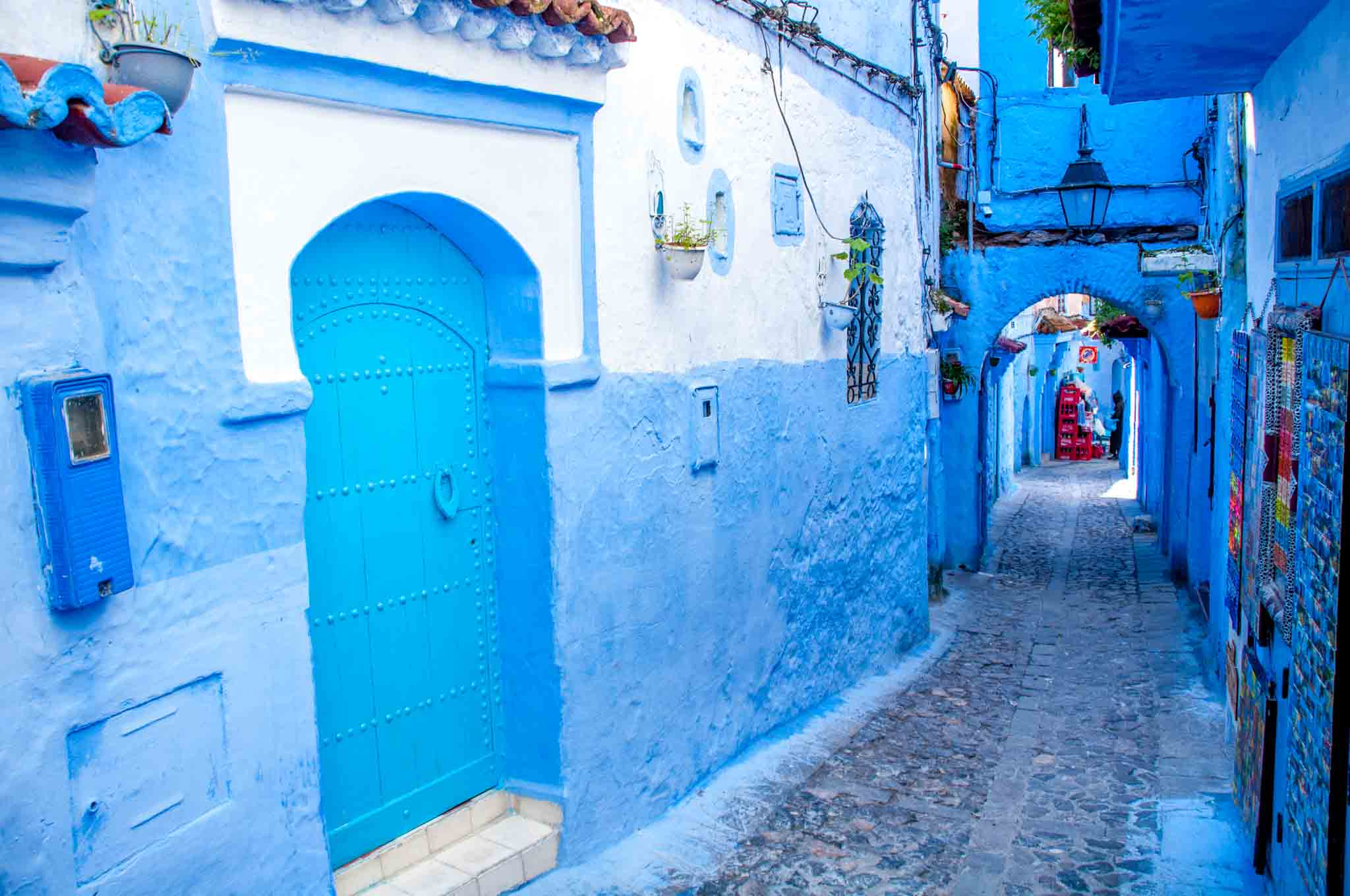 Passageway and arches in the blue village of Morocco--Chefchaouen
