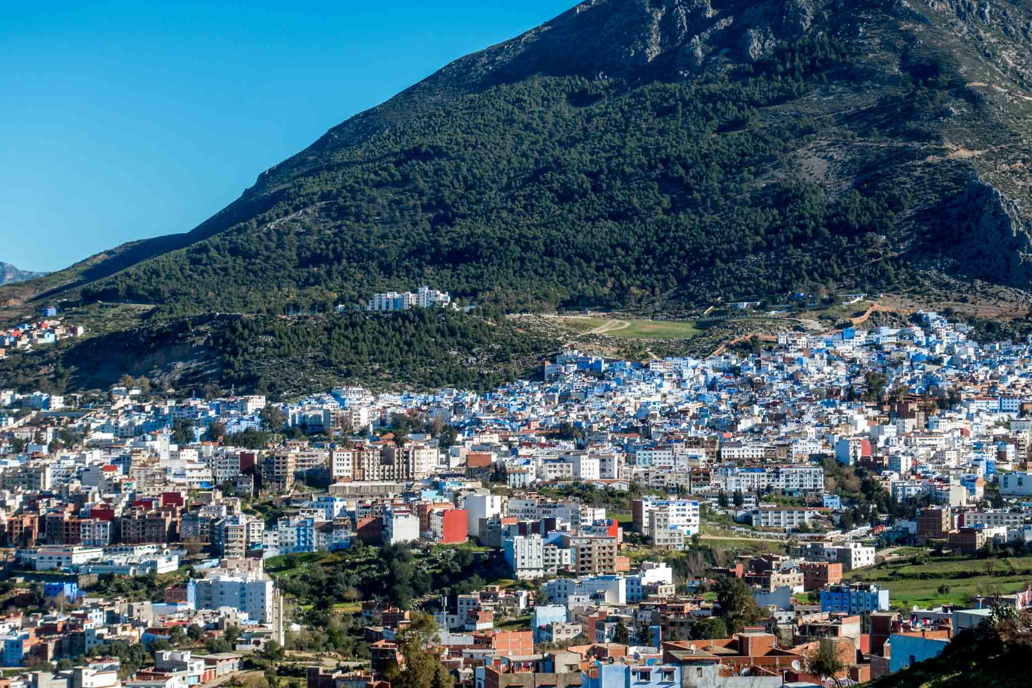 Panoramic view of Chefchaouen Morocco, in the Rif Mountains