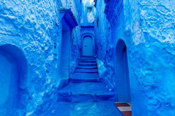 Chefchaouen is the Morocco blue city where nearly every surface is painted a shade of royal or turquoise