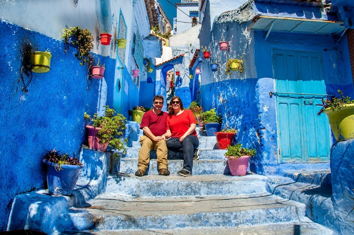 Lance and Laura in Chefchaouen, Morocco