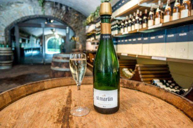 Cremant Luxembourg in the tasting room of Caves St. Martin near the Mosel River