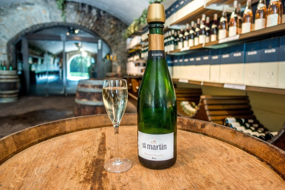 Cremant de Luxembourg in the tasting room of Caves St Martin near the Mosel River