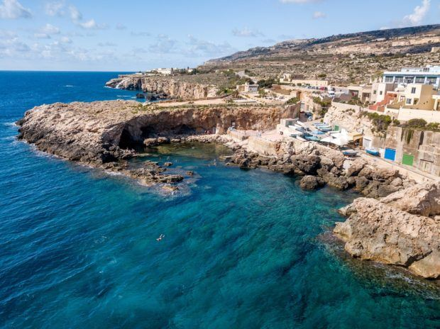 The beautiful Ghar Lapsi swimming and diving spot in Malta