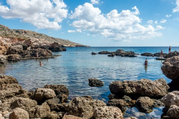 Swimming at Ghar Lapsi in Malta was one of the less touristy things on our 4 days in Malta itinerary